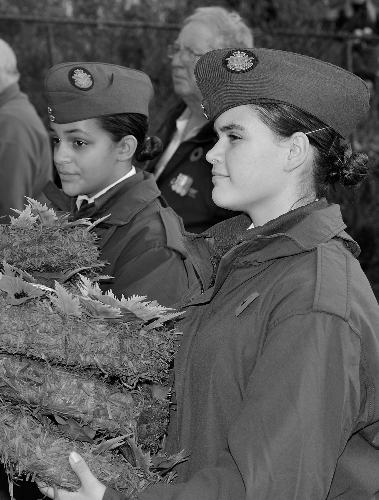 Cadets Holding Wreaths