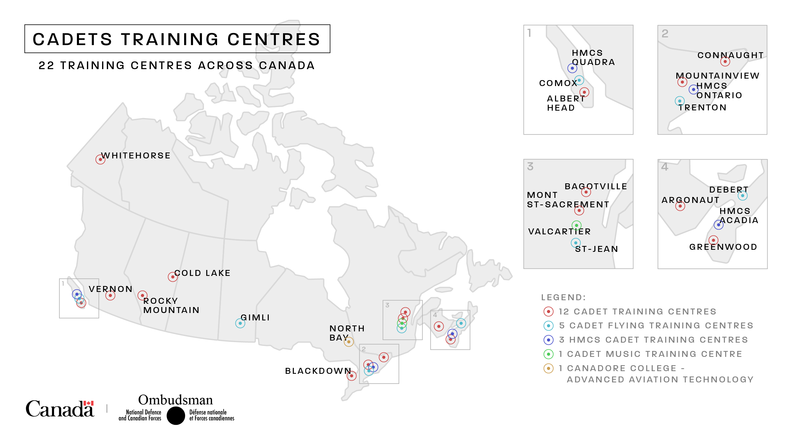 Map of Canada: Cadets Training Centres